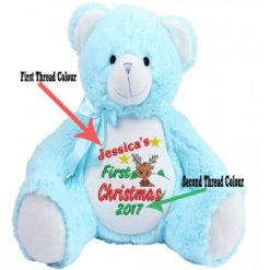 Mumbles Zippie -Blue Teddy Bear-First Christmas Personalised Embroidered Reindeer Design