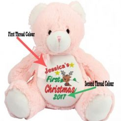 Mumbles Zippie -Pink Teddy Bear-First Christmas Personalised Embroidered Reindeer Design