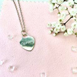 Sterling silver heart pendant with cariad engraving 1