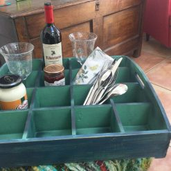Reclaimed wooden tray or shelf.