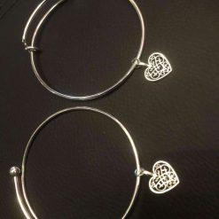 Filigree heart and druzy agate cuff bracelet