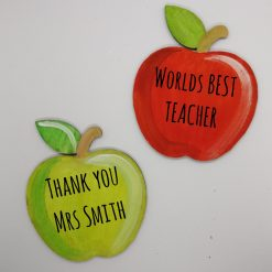 Handpainted Custom Teacher Gift, wooden apple, magnet or Ornament