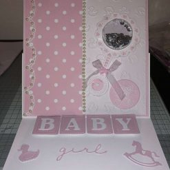 """Large New Baby Girl 3D Shaker Card with presentation box 8""""x 8"""""""