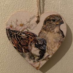 Little sparrows - Hanging wood heart