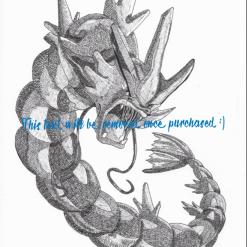 Gyarados Pokemon Drawing Print - Digital File