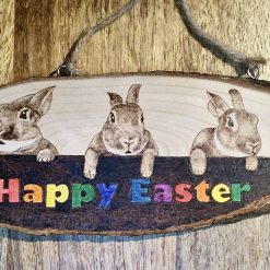 Wooden Easter Plaque Hand Made Pyrography and Paint