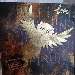 Golden owl large handmade card
