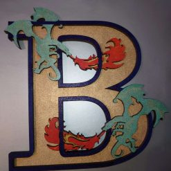 Dragon Letter/Initial, personalised hand painted wall plaque