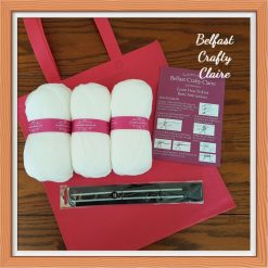 Adult - Beginners - Complete Knitting Kit - Yarn, Needles, Instruction Booklet and Tote Bag - Ideal Gift - Learn to Knit - WHITE