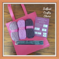 Adult - Beginners - Complete Knitting Kit - Yarn, Needles, Instruction Booklet and Tote Bag - Ideal Gift - Learn to Knit - Purple Mix