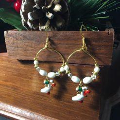 Festive Enamel Stocking Hoop Earrings