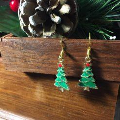 Festive Enameled Christmas Tree Earrings