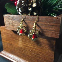 Festive Enameled Red Bell Earrings