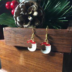 Festive Enameled Santa Moon Earrings