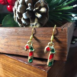 Festive Red, Gold & Green Coloured Candy Cane Earrings