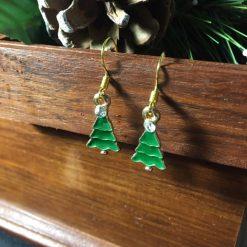Festive Christmas Tree Enamel Earrings