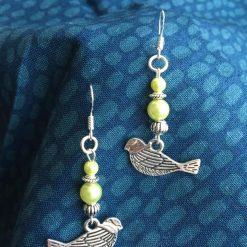 Victorian-Esque Bird & Bead Earrings- Sterling Silver Ear Hook