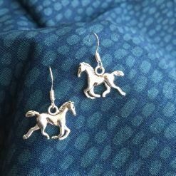 Cantering Horse Silver Earrings