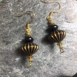 Black & Gold Vintage look Lantern Earrings