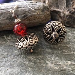 Vintage Style Silver And Red Earrings