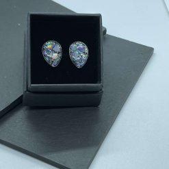 Holographic grey glitter teardrop resin earrings