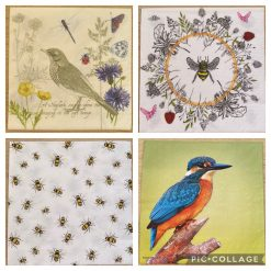 Napkins for Decoupage/Paper Crafts - Birds and Bees