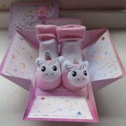 Unicorn Baby Socks Exploding Box