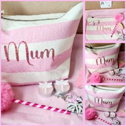 Mothers Day Gift Box Nautical Pink Stripe Craft Bag, Make up Bag , Personalised Accessory Bag (pom pom pen,tealights,keyring,fizzy bath bomb)
