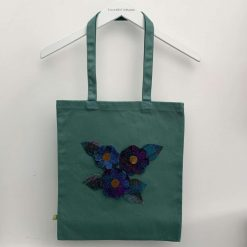 Organic cotton tote bag with floral Harris Tweed appliqué design and matching purse 6