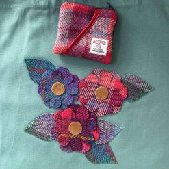 Organic cotton tote bag with floral Harris Tweed appliqué design and matching purse 1