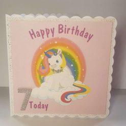 Handmade Unicorn 7th Birthday Card