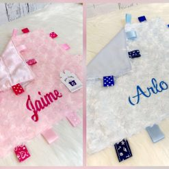 Rose Fur Baby Comforter with Taggies/ new baby/ baby gift/ personalised/ embroidery/ pink/ blue