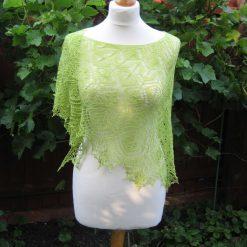 Handmade knitted lace crescent shape shawl, salad green colour merino wool yarn