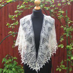Handmade knitted lace shawl light daffodil yellow colour silk/alpaca yarn shawl with beads