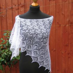 Handmade knitted triangular lace shawl white colour merino yarn shawl with beads