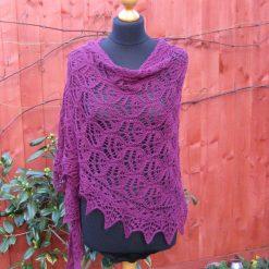 Handmade knitted lace shawl, plum colour shawl