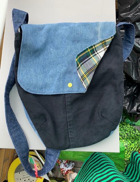 Messenger-style denim shoulder bag