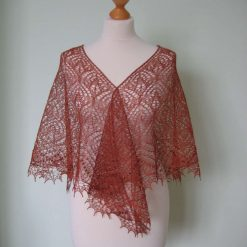 Handmade knitted triangular laced linen/silk terracotta colour shawl, shawl with beads