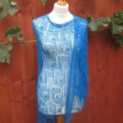 Handmade knitted triangular lace shawl blue colour merino yarn shawl with beads