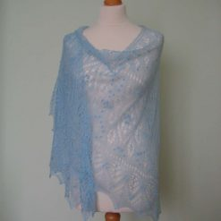 Handmade knitted semicircular lace merino wool shawl, sky blue colour with nupps (bubles)