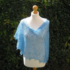 Handmade knitted merino wool/silk lace crescent shape shawl with beads, light blue colour shawl
