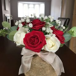 Red and White Roses with White Gypsophila and Eucalyptus Bouquet