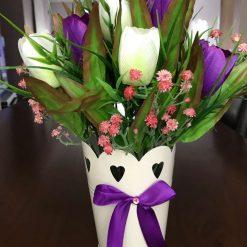 Spring, Cream and Purple Tulip