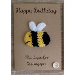 Knitted bee birthday card