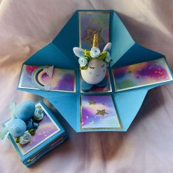 Turquoise Unicorn Egg in an Exploding Box
