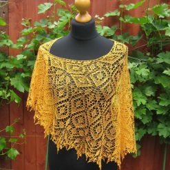 Handmade knitted lace crescent shape shawl with beads, pure silk, antique gold colour shawl