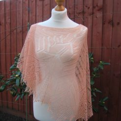 Handmade knitted crescent shape laced merino wool peach colour shawl