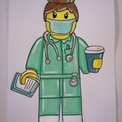 Handpainted Key Worker Cartoon, Nurse, Doctor, Paramedic,  Midwife, Police, Fire, Uniform