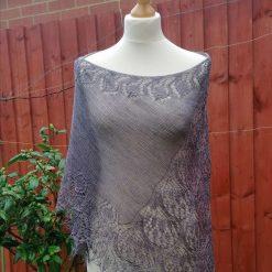 Handmade knitted crescent shape laced merino/silk purple grey shawl