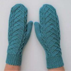 Handmade knitted mittens, merino/cotton blue colour mittens